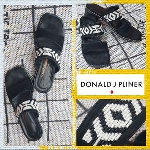 Donald J. Pliner Black & White Beaded Sandals